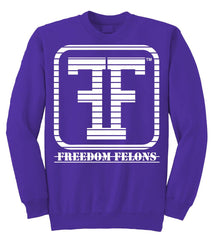 Freedom Felons (Chopped logo) Purple Crew neck sweater - Freedom Felons. This is the White on purple #chopped #Logo #Crewneck #Sweater by #FreedomFelons #AntiEstablishment #Urban #Street #major #mma #ufc #represent #boxing #fightnight #Music #hiphop #cali #nyc #world #Streetwear #Skate #Sports #Freedom #Felons #Lifestyle #Original #Brand #WorldWide #WouldYouBeAFelonForYourFreedom