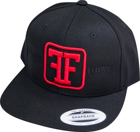 Red on Black Snapback logo Hat - Freedom Felons.  #FreedomFelons #AntiEstablishment #Urban #Street #major #Music #Celebrity #trending #cali #nyc #worldwide #represent #young #crooks #famous #world #streetwear #hiphop #fashion #Skate #Sports #Lifestyle #Original #Brand #WorldWide #WouldYouBeAFelonForYourFreedom