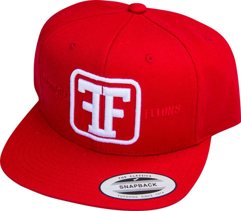 White on Red Snapback Hat - Freedom Felons.  #FreedomFelons #AntiEstablishment #Urban #Street #major #Music #Celebrity #trending #cali #nyc #worldwide #represent #young #crooks #famous #world #streetwear #hiphop #fashion #Skate #Sports #Lifestyle #Original #Brand #WorldWide #WouldYouBeAFelonForYourFreedom