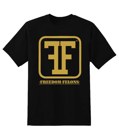 Guys Gold on black Logo T - Freedom Felons.  #FreedomFelons #AntiEstablishment #Urban #Street #major #Music #Celebrity #trending #cali #nyc #worldwide #represent #young #crooks #famous #world #streetwear #hiphop #fashion #Skate #Sports #Lifestyle #Original #Brand #WorldWide #WouldYouBeAFelonForYourFreedom