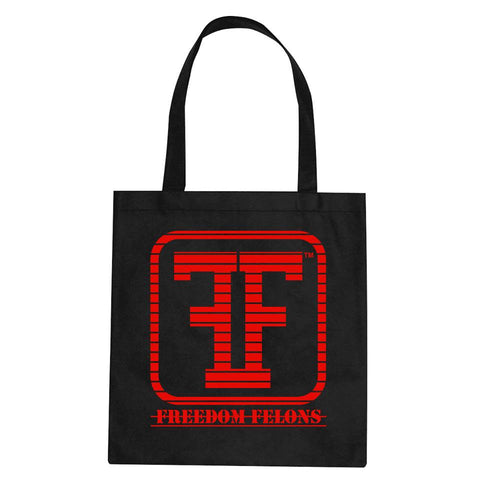 Red on Black (chopped logo) FF tote bags - Freedom Felons.  #FreedomFelons #AntiEstablishment #Urban #Street #major #Music #Celebrity #trending #cali #nyc #worldwide #represent #young #crooks #famous #world #streetwear #hiphop #fashion #Skate #Sports #Lifestyle #Original #Brand #WorldWide #WouldYouBeAFelonForYourFreedom