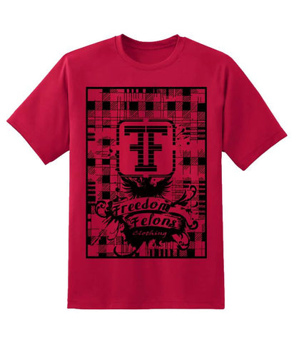 Red plaid T shirt - Freedom Felons.  #FreedomFelons #AntiEstablishment #Urban #Street #major #Music #Celebrity #trending #cali #nyc #worldwide #represent #young #crooks #famous #world #streetwear #hiphop #fashion #Skate #Sports #Lifestyle #Original #Brand #WorldWide #WouldYouBeAFelonForYourFreedom