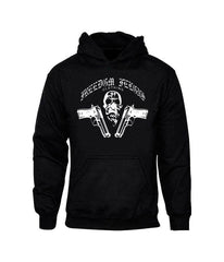 Skull N Guns Black Hooded Sweatshirt - Freedom Felons.  #FreedomFelons #AntiEstablishment #Urban #Street #major #Music #Celebrity #trending #cali #nyc #worldwide #represent #young #crooks #famous #world #streetwear #hiphop #fashion #Skate #Sports #Lifestyle #Original #Brand #WorldWide #WouldYouBeAFelonForYourFreedom