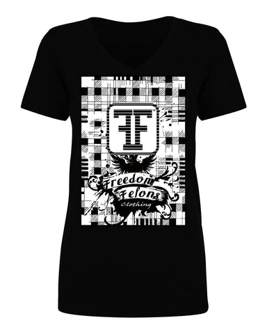 This is the #Girls #Vneck #Black #Plaid #Tshirt  by #FreedomFelons #AntiEstablishment #Urban #Street #major #Music #Celebrity #trending #cali #nyc #worldwide #represent #young #crooks #famous #world #streetwear #hiphop #fashion #Skate #Sports #Lifestyle #Original #Brand #WorldWide #WouldYouBeAFelonForYourFreedom