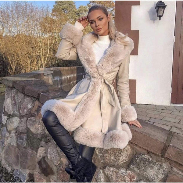 LEATHER LOOK COAT BEIGE - Hanora Fashion