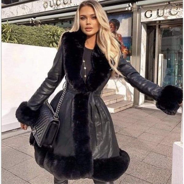 LEATHER LOOK COAT BLACK - Hanora Fashion