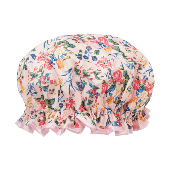 The Vintage Cosmetic Company Shower Cap Pink Floral Satin – Koupací čepice