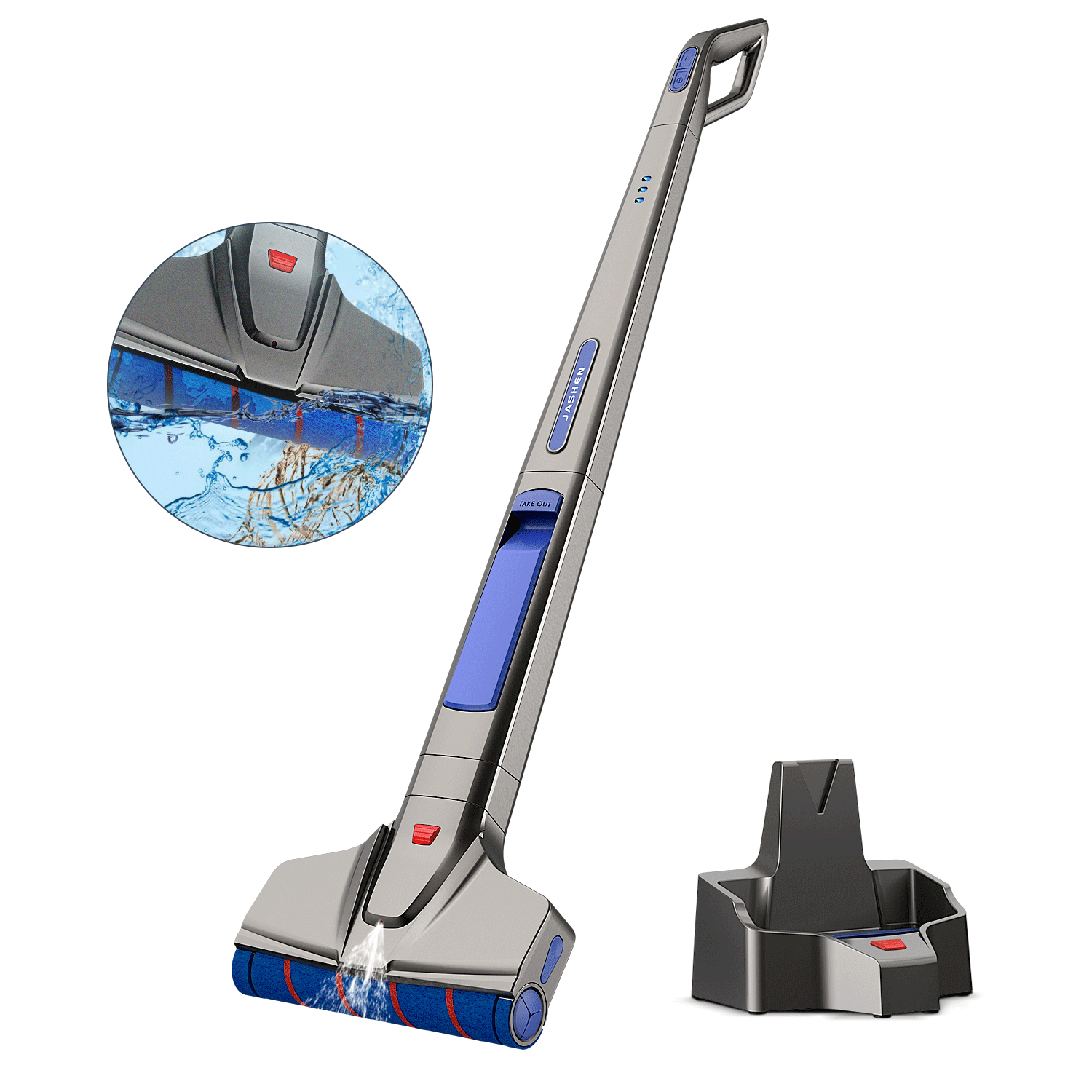 M12 Cordless Electric Mop | Auto cleaning with spray | Up to 40 Mins Run time | JASHEN