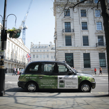 Antipodes spreads the plant-based skincare message via London's traditional black cabs