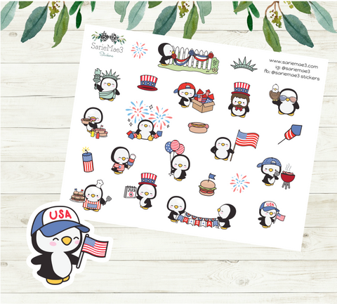 4th of July Sampler Penguins Planner Stickers