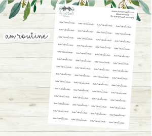 AM Routine Planner Stickers (Hand Lettered Script)
