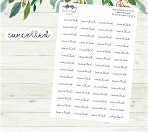 Cancelled Planner Stickers (Hand Lettered Script)