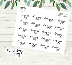 Cleaning Time Planner Stickers (Duo Font)