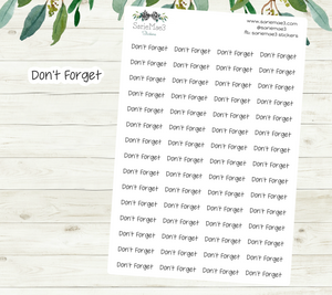 Don't Forget Planner Stickers (JenPlans)