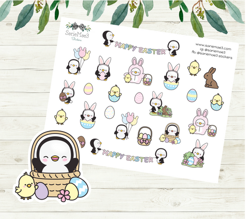 Easter Sampler Penguins Planner Stickers