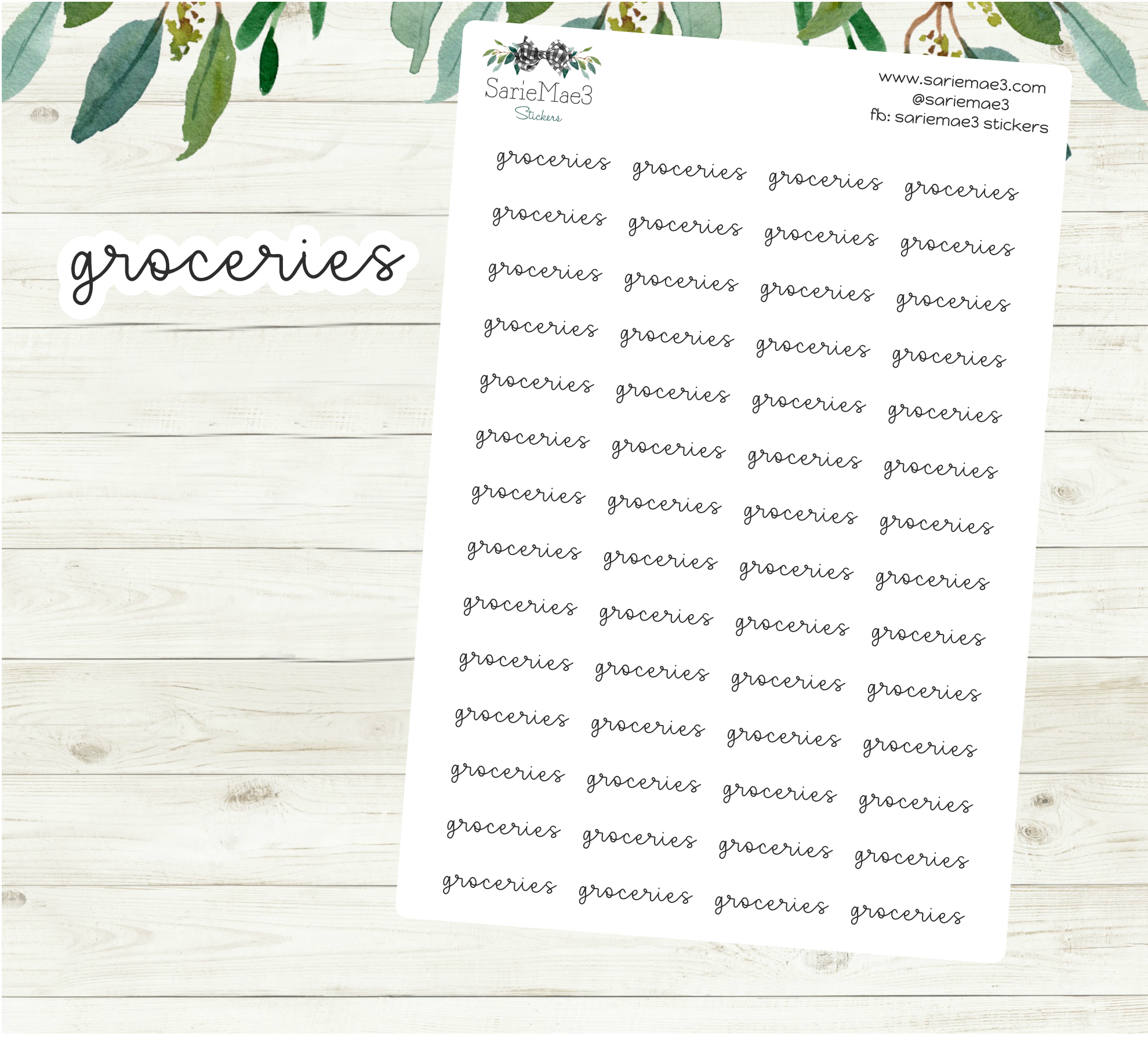 Groceries Planner Stickers (Hand Lettered Script)