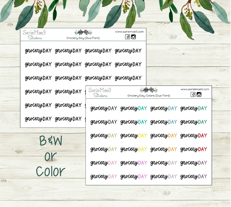 Grocery Day Planner Stickers (Duo Font)