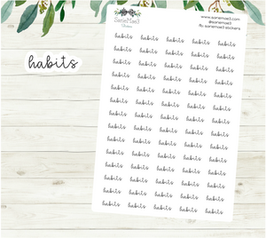 Habits Planner Stickers (Hand Lettered Script)