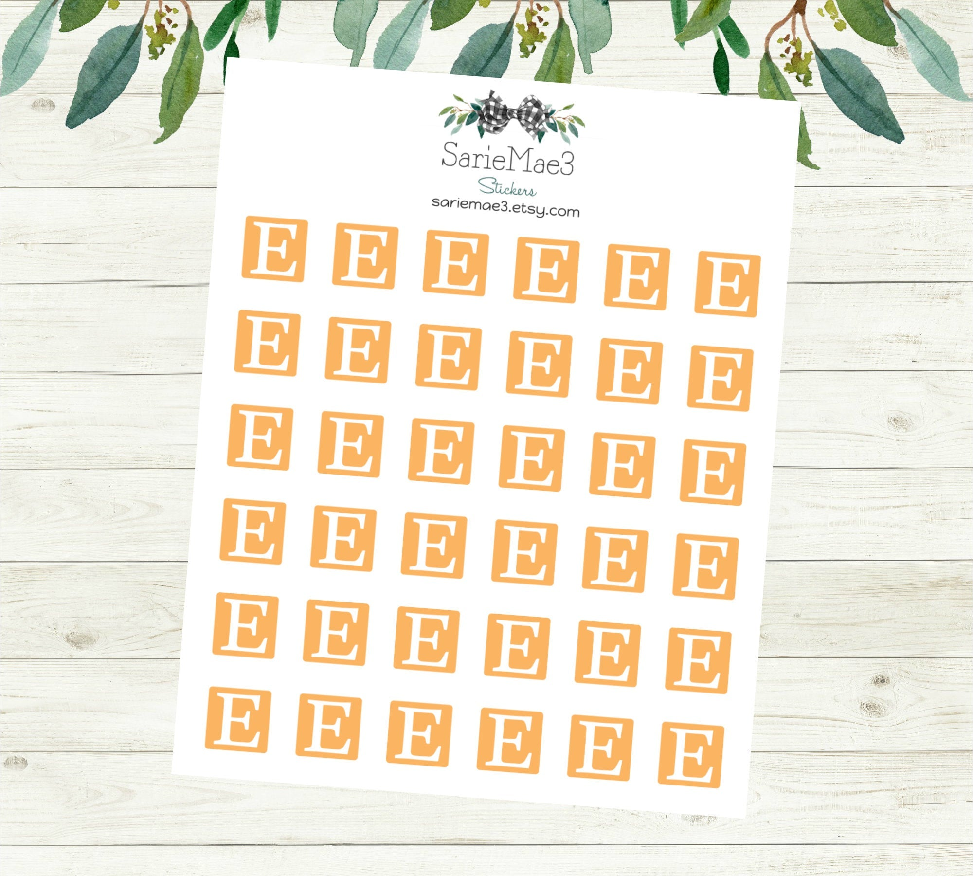 Mini Etsy (Orange) Planner Stickers