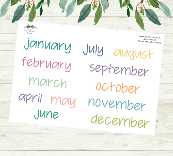 Large Months (EC Colors) Planner Stickers (JenPlans)