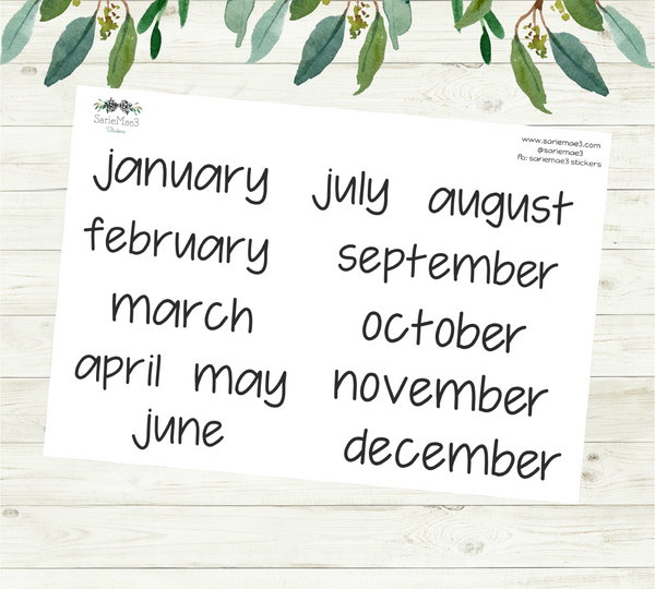 Large Months Planner Stickers (JenPlans)