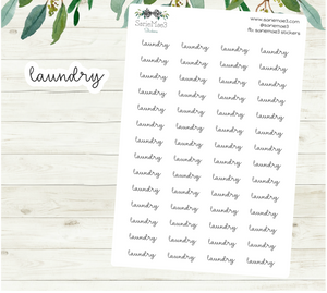 Laundry Planner Stickers (Hand Lettered Script)