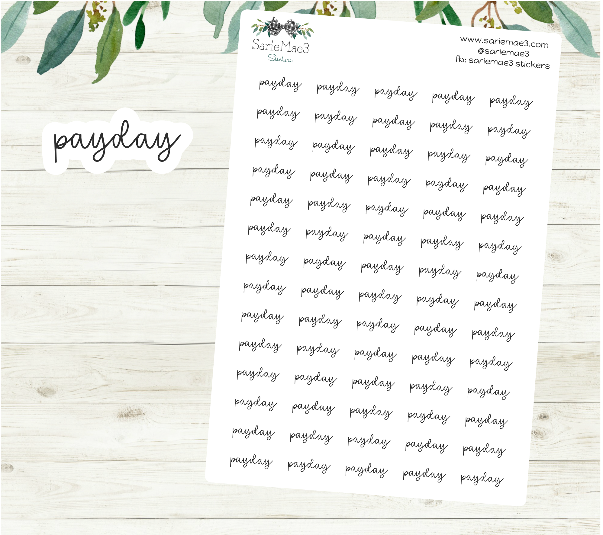 Payday Planner Stickers (Hand Lettered Script)