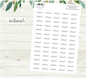 School Planner Stickers (Hand Lettered Script)