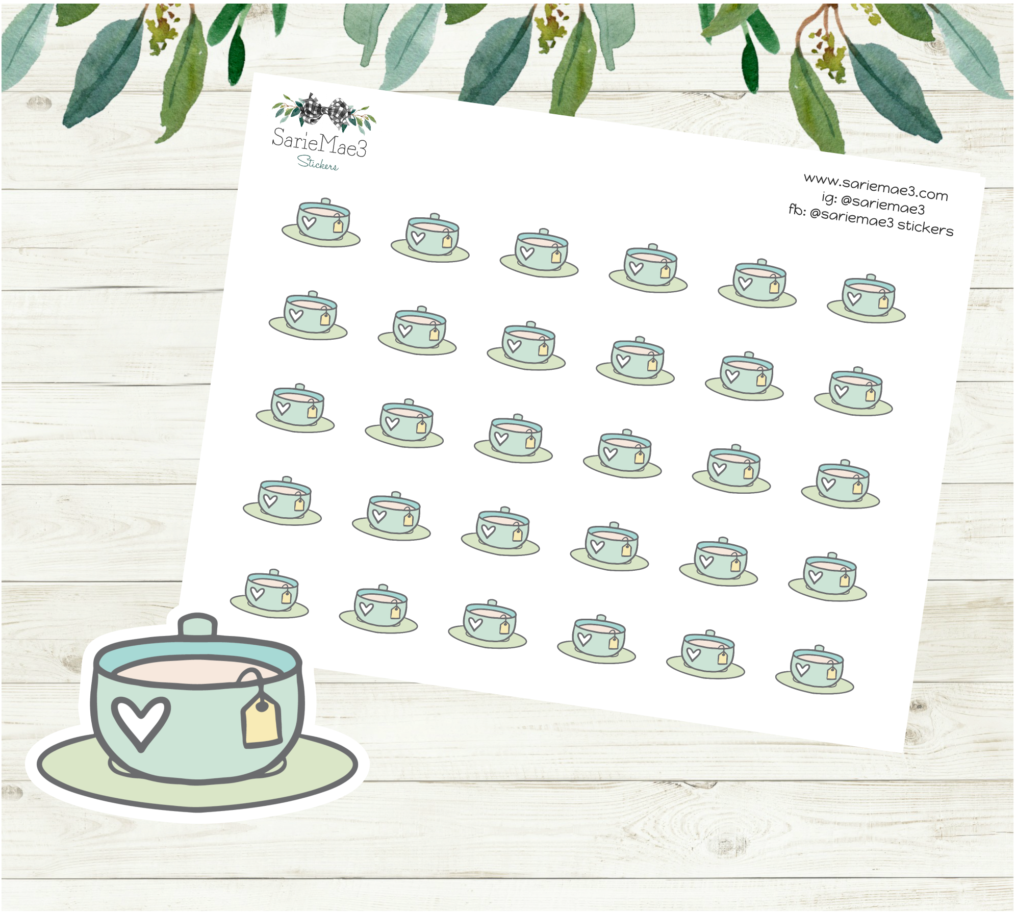 Tea Cup Planner Stickers