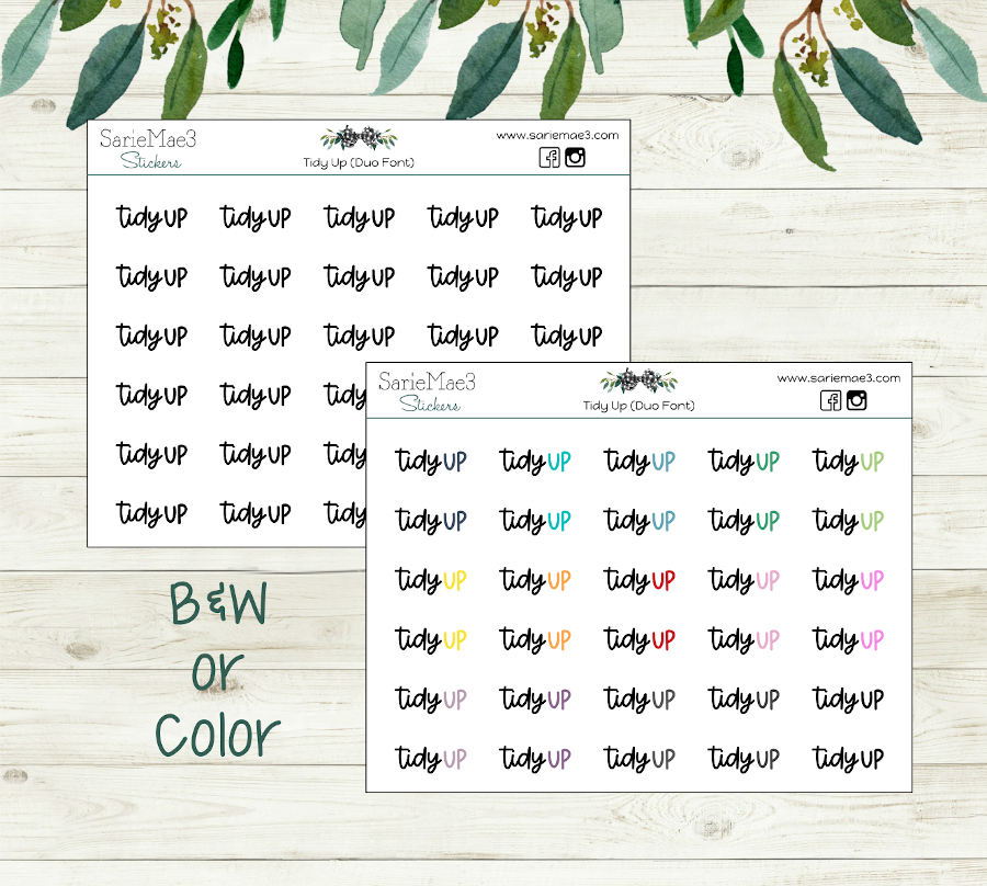 Tidy Up Planner Stickers (Duo Font)