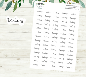 Today Planner Stickers (Hand Lettered Script)