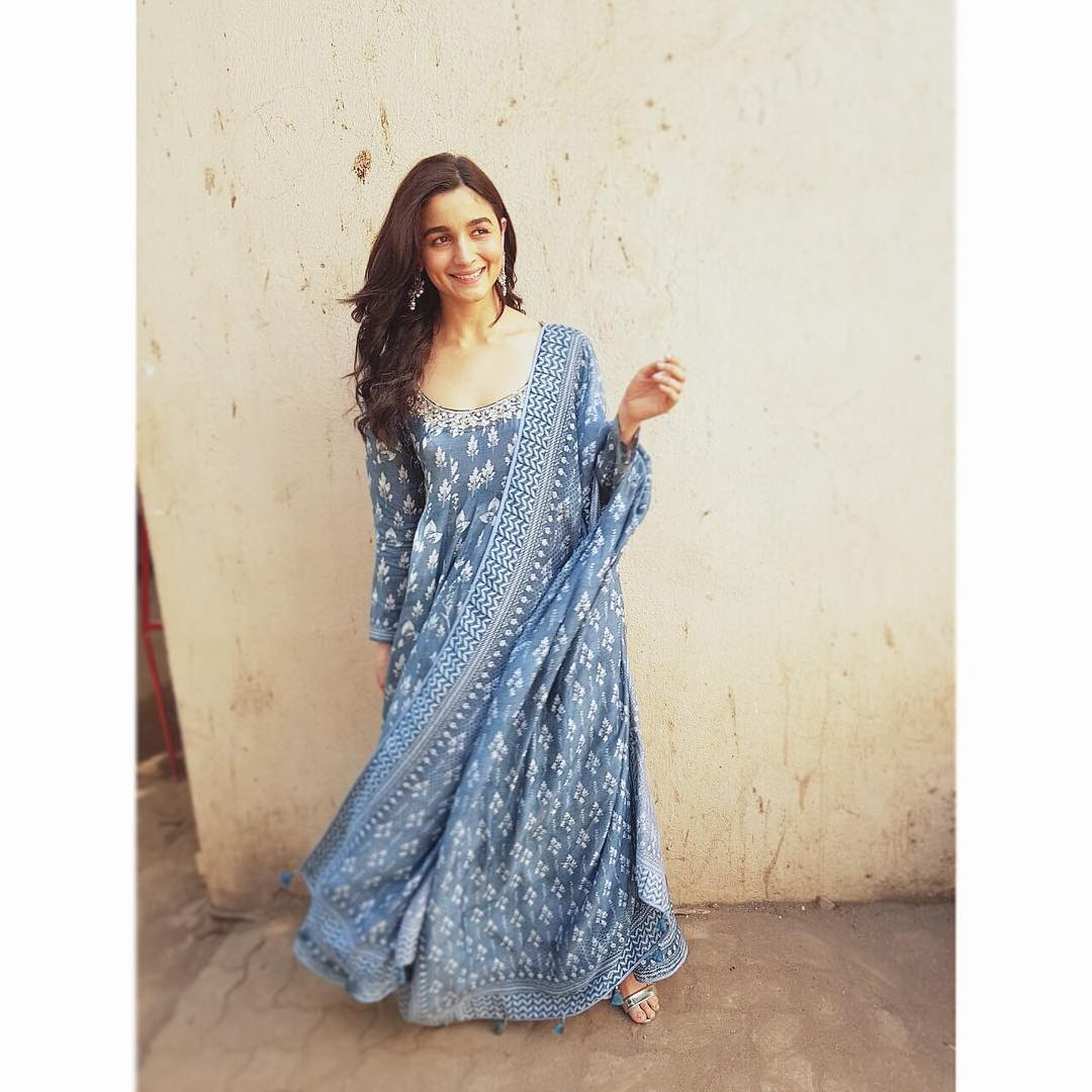 Handblock printed anarkali during the promotions of Raazi.