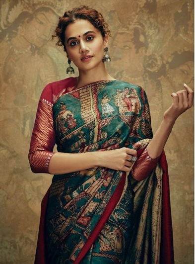 Tapsee Pannu in a block printed saree on the Handloom day.