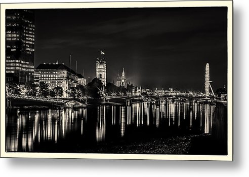 The River Thames at Night - Metal Print