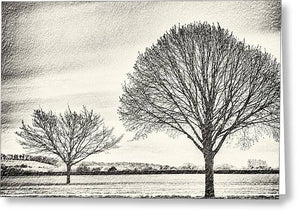 Two Trees in a field - Greeting Card