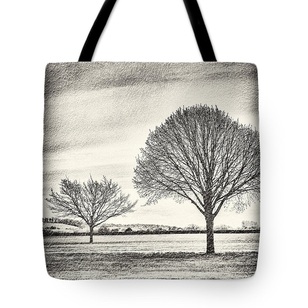 Two Trees in a field - Tote Bag