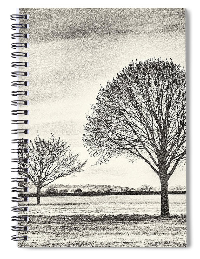 Two Trees in a field - Spiral Notebook