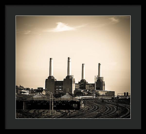 Battersea Power Station with train tracks - Framed Print
