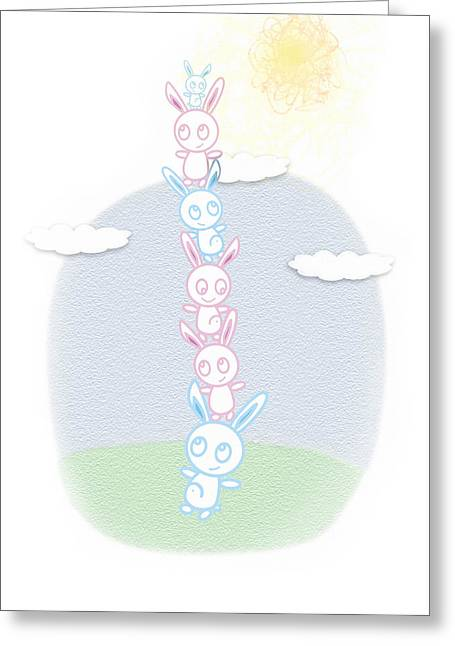 Bunny Tower Childrens Illustration - Greeting Card