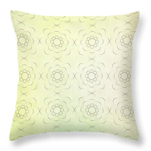 Circles within Circles Flowers upon Flowers - Textures green background - Throw Pillow