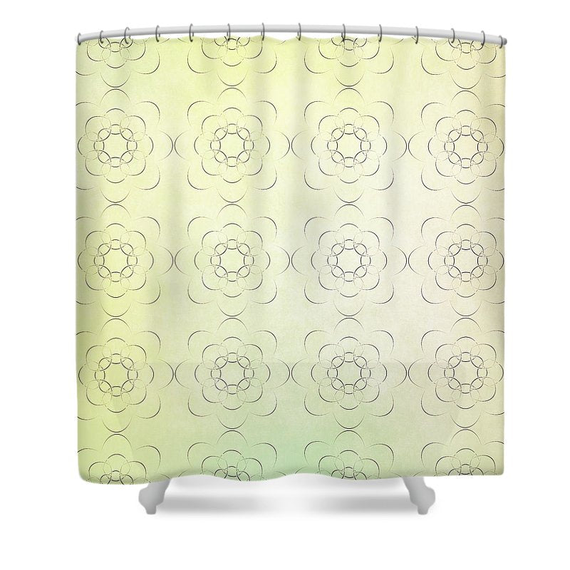 Circles within Circles Flowers upon Flowers - Textures green background - Shower Curtain