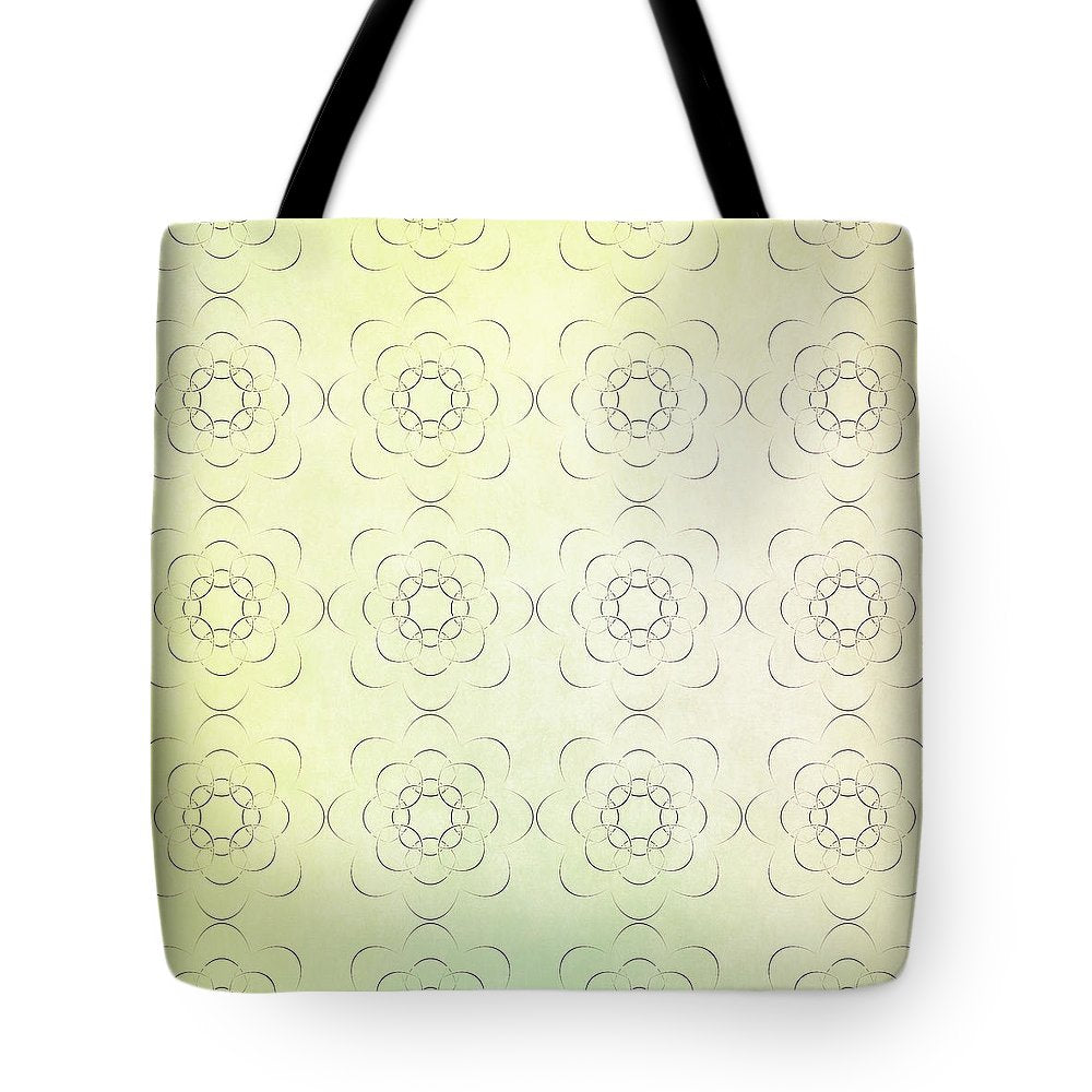 Circles within Circles Flowers upon Flowers - Textures green background - Tote Bag