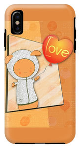 Cute Lots of Love Love You Cute Character holding a Love Balloons  - Phone Case