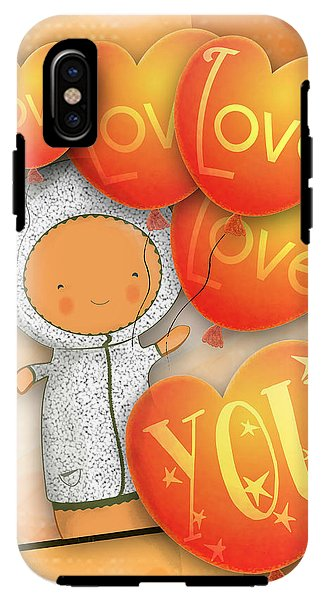 Cute Teddy with Lots of Love Balloons - Phone Case