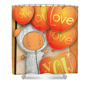 Cute Teddy with Lots of Love Balloons - Shower Curtain