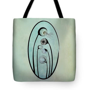 Geometric Stems in an Oval frame - Tote Bag