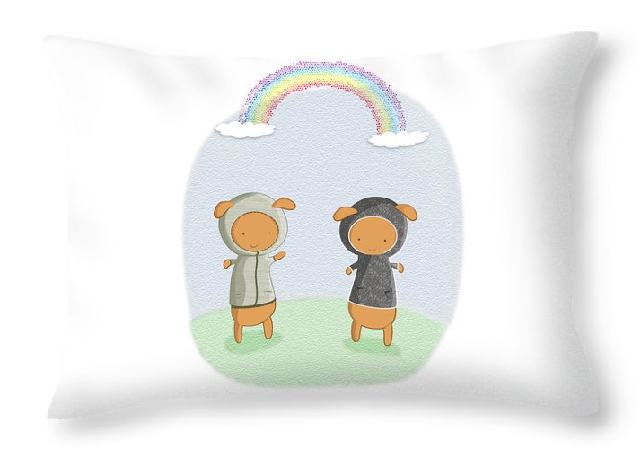 Lamb Carrots Cute Friends Under a Rainbow Illustration - Throw Pillow