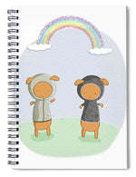 Load image into Gallery viewer, Lamb Carrots Cute Friends Under a Rainbow Illustration - Spiral Notebook