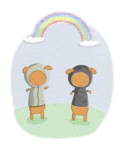 Lamb Carrots Cute Friends Under a Rainbow Illustration - Art Print
