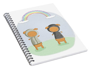 Lamb Carrots Cute Friends Under a Rainbow Illustration - Spiral Notebook
